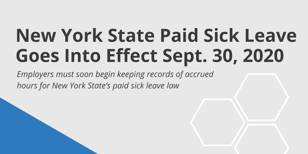 New York State Paid Sick Leave Goes Into Effect Sept. 30, 2020
